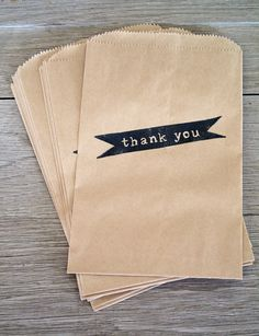 Kraft Paper Bags, Thank You, Set of 12 . Party Favor Bags. $6.50 USD, via Etsy.