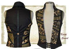 Menswear Steampunk Circus Vest size small long by ManicManx