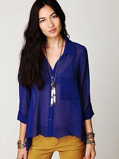 Cobalt Blue Sheer Buttondown Tab Shirt