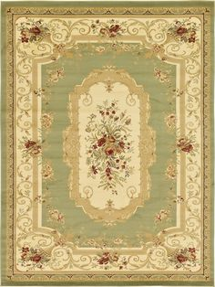 green 0 x 0 classic aubusson rug - Aubusson Rugs