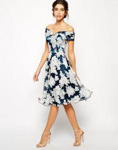 Chi Chi London   Chi Chi London Printed Organza Midi Prom Dress with Bardot Neck at ASOS