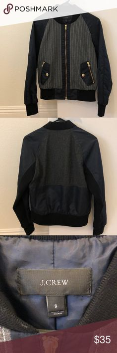 J. Crew Navy Bomber Jacket Navy bomber jacket with grey flannel panels in the front  Wore only once  Great condition  True to size J. Crew Jackets & Coats
