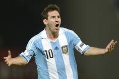 Argentine forward Lionel Messi celebrates after scoring against Paraguay during a Brazil 2014 World Cup South American qualifier match at Mario Kempes stadium in Cordoba some 600 Km north-west of Buenos Aires, on  September 7, 2012