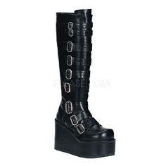 Demonia Concord 108 Goth Gothic Cyber Matte Black Platform Knee High Boots 6 12   eBay
