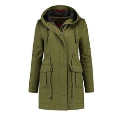 AVERY PARKA (€135) ❤ liked on Polyvore featuring outerwear, coats, jackets, green coat, green parka coat, cotton parka, cotton coat and green parkas