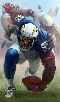 Antonio Gates, the tight end of San Diego Chargers, was featured on ESPN Magazine Fantasy Football as a strong and unstoppable player. American Football League, Fantasy Football League, National Football League, Football Love, Football Art, Football Helmets, Manning Football, Football Names, Cowboys Football