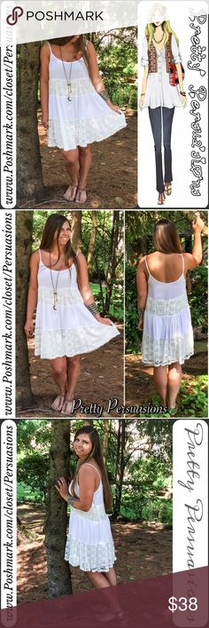 """FINAL SALE🌻Pieced Lace Tiered Ruffle Hem Dress NWT White Pieced Lace Boho Tiered Ruffle Hem Dress  Available in sizes: S, M, L Measurements taken in inches from a size small:  Length: 33"""" Bust: 36"""" Waist: 42""""  Features: • scoop neckline  • spaghetti straps • super soft, light weight material  • relaxed fit • lace insets • tiered ruffle hem skirt • lined/not sheer  Bundle discounts available  No pp or trades ~ Item # 102-6•20-0210WLD BLACK WHITE STRIPED BLUSH LACE PINK SHIFT DRESS FLORAL…"""
