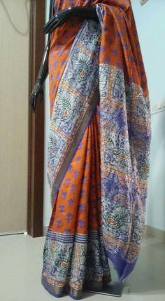 contamporary batik hand block printed saree in mulberry silk
