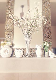 My Spring Mantel with Jonathan Adler ceramics