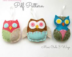 Felt Owl Softie PDF Pattern Hand Stitched by lovahandmade on Etsy