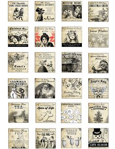 Antique Christmas Potion Labels 1x1 inch digital collage sheet inchies 25.4mm 25x25 square tea Frosty the Snowman cookie snowflakes angel. $4.00, via Etsy.