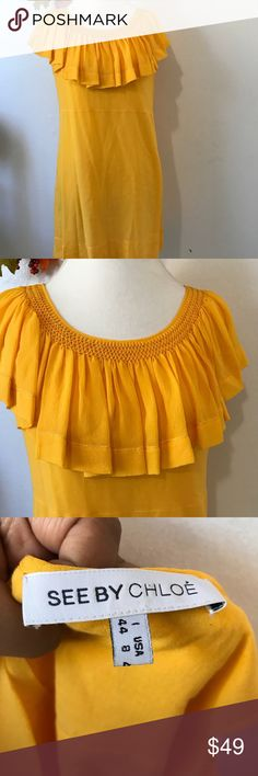 See by Chloe Yellow Ruffled top Silk Dress 100% silk with lining. Super cute dress for any occasion . Armpit to armpit 20'. Length 35'. See By Chloe Dresses Midi