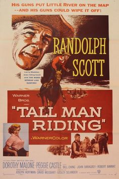 Tall Man Riding (Warner Brothers, One Sheet X Western. Starring Randolph Scott, - Available at Sunday Internet Movie Poster. Western Film, Western Movies, Western Art, Old Movie Posters, Cinema Posters, Movie Poster Art, Old Movies, Vintage Movies, Movies 2019