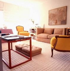 laid-back style.  i really like that tuxedo sofa.