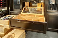 Custom Wine Cellar - Handcrafted, wine Humidor with Spanish Cedar interior and glass cover Wagner St., Glenview, Glenview Haus Photo Gallery, Chicago