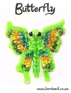 Butterfly Loom Band Charm Tutorial, instructions and videos on hundreds of loom band designs. Shop online for all your looming supplies, delivery anywhere in SA. Rainbow Loom Tutorials, Rainbow Loom Patterns, Rainbow Loom Creations, Rainbow Loom Bands, Rainbow Loom Charms, Rainbow Loom Bracelets, Loom Band Charms, Rubber Band Charms, Loom Band Bracelets