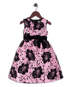 Pink & Black Floral Taffeta Dress - Infant, Toddler & Girls