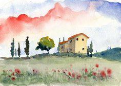 italian watercolor landscape Tuscan Spring II fine di bleuherron