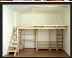 Loft bed up top Entertainment center under