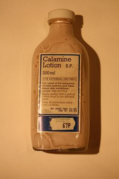 Calamine lotion used in the 1950s for sun burn, poison ivy blisters. It is a chalky pink color. Calamine is either a mixture of Zinc Oxide with about 0.5% ferric oxide or a zinc carbonate compound. In a 1992 press release, the U.S. Food and Drug Administration announced that no proof had been submitted showing calamine to be safe for use or effective in treating bug bites, stings & rashes from poison ivy, poison oak, poison sumac.
