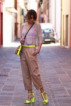 Discover this look wearing Yellow Colours & Beauty Belts, Beige Gotha Shirts, Tan Zara Bags tagged i love the touch on neon amazing voted - Blinding light. Neon Yellow Tops, Neon Yellow Dresses, Urban Fashion, Love Fashion, Spring Fashion, Womens Fashion, Neon Outfits, Fashion Outfits, Fashion Trends