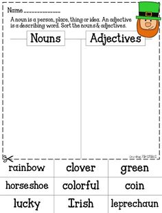 St. Patrick's Day Nouns & Adjectives sorts from Growing Firsties (Common Core Girl)...