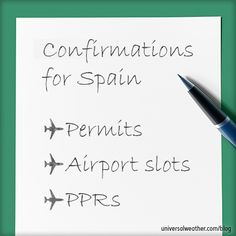 Operations to Spain: Flight Permits, PPRs and Slots - Compared to other regions of the world, Spain's landing permits, Prior Permissions Required (PPRs) and airport slot procedures are relatively uncomplicated, accommodating and flexible in terms of revision. Still, it's always best practice to work with a 3rd-party provider and local ground handler in advance to obtain the best options and to be aware of any operating restrictions and local airport nuances.
