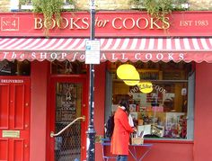 Books for Cooks -- it's a bustling hub for London foodies. The store is crammed with cookbooks galore.