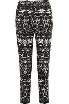 Black and white satin-twill Concealed button, hook and zip fastening at front polyester Dry clean J Crew Style, Ikat Print, Ikat Fabric, Twill Pants, Discount Designer Clothes, Fancy Pants, Printed Pants, Straight Leg Pants, Clothes For Sale
