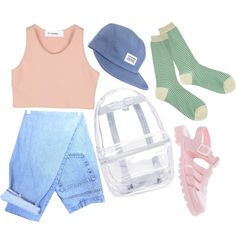 Personally I think the see through bag and shoes are pretty putrid. But I love the jeans, hat and the top. And the socks are okay.