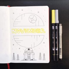 Bullet journal monthly cover page, November cover page, Star Wars bullet journal theme, Star Wars drawing, drawing. May Bullet Journal, Bullet Journal Ideas Pages, Bullet Journal Layout, Bullet Journal Inspiration, Bullet Journals, Manualidades Star Wars, Filofax, Star Wars Drawings, Star Wars Quotes