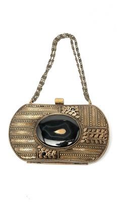 Brass Metal & Black Onyx Clutch