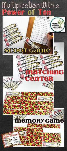 Elementary Classroom Multiplication Power of Ten: Center, Scoot Game, Memory Game. Make learning fun and engaging!