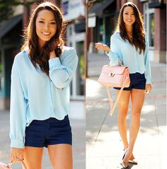blue chiffon shirt!