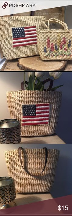 Lot of Two Straw Purse Handbags Show your American spirit with this Flag Straw Bag. it will look great over your shoulder. Like new. Leather shoulder straps. Approximately 14x10.5x4 . Lined with Denim and has a pocket for your sunglasses or phone. Great summer vacation bag.   Small bag is mixed with a zipper pocket(zipper is broke but still functions as a pocket) .Check out other items in my closet to bundle and save. Bags