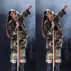 Rihanna Alexandre Vauthier camo jacket pants Abu Dhabi concert, vintage Versace mp98 white sunglasses, Vetements x Manolo Blahnik ankle boots, Fleur du Mal velvet bodysuit