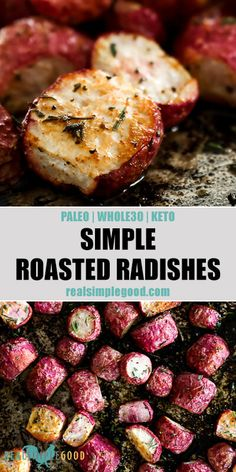 An easy low-carb side dish, these simple roasted radishes are flavorful and delicious. Only a handful of ingredients and 5 minutes of prep for this Paleo, Keto side dish! Roasted in the oven until fork tender, they are a fun low carb sheet pan side dish! Radish Recipes, Paleo Recipes, Low Carb Recipes, Whole Food Recipes, Cooking Recipes, Paleo Meals, Paleo Food, Chef Recipes, Recipes With Radishes