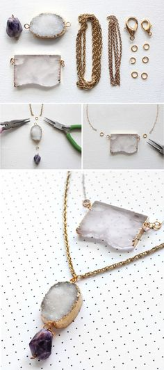 Spruce up your spring/ summer wardrobe with a do it yourself gem necklace. Perfect for summer festivals.