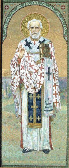 Nicholas of Myra - he was known for his charity, even though he carefully concealed his charitable works Catholic Art, Catholic Saints, Religious Icons, Religious Art, St Nicholas Day, Mosaic Portrait, Saint Nicolas, Orthodox Icons, Art Gallery