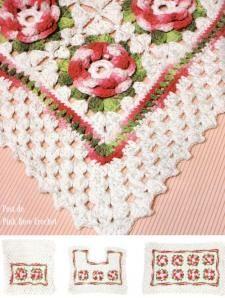 pink crochet, tapete banheiro