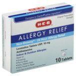 HEB Allergy Relief 24 Hr - Antialérgico, 10 tabletas