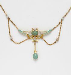 Art Nouveau 14kt Gold and Enamel Lavaliere-style Pendant Necklace