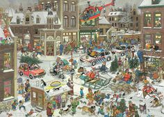 Jigsaw puzzle of 1000 pieces made by Jumbo: 1000 pcs - Christmas - Jan van Haasteren (by Jumbo). A 1000 pieces jigsaw puzzle made by Jumbo (reference Size: 68 x 49 cm (= x inch). Christmas Jigsaw Puzzles, Christmas Puzzle, Illustrator, Foundation Stage, Hidden Pictures, Cartoon Art Styles, Cartoon People, Holiday Time, Illustration Art