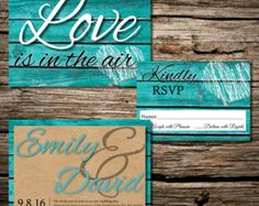 Love is in the Air - Rustic Teal Wedding Invite - Edit Listing - Etsy