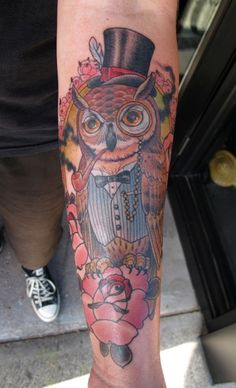 Gentleman Owl with Monocle & Pipe Forearm Tattoo by Ryan Mason Half Sleeve Tattoos Designs, Owl Tattoo Design, Japanese Sleeve Tattoos, Tattoo Sleeve Designs, Classy Tattoos, Great Tattoos, Beautiful Tattoos, Tattoos For Guys, Tattoos Pics