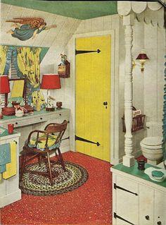 1955 Ranch House Bathroom. Luv the Yellow Door & Hardware...