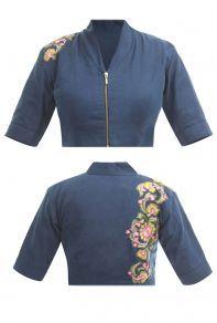 Blue Denim Plain Zipper Collar Designer Blouse For Saree Catalog No : 7830 Kalamkari Blouse Designs, Cotton Saree Blouse Designs, Stylish Blouse Design, Fancy Blouse Designs, Pattern Blouses For Sarees, Silk Blouses, Dress Designs, Designer Blouse Patterns, Dress Patterns