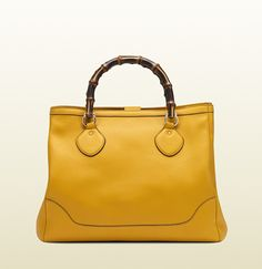 GUCCI-diana yellow leather bamboo top handle tote