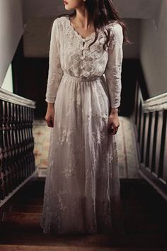 Vintage V Neck Long Sleeve Pure Color Maxi Dress For Women