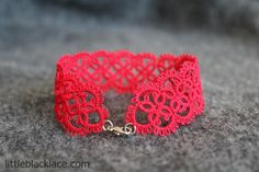 Delicate lace bracelet, handmade. I used high quality cotton thread, quite thin, so the design is subtle and feminine. Gorgeous red colour, will spice up any outfit.
